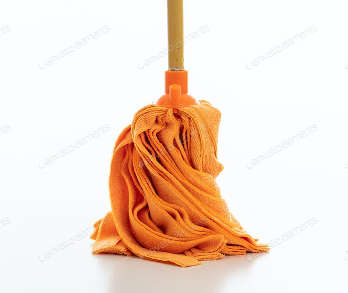 Cleaning floor mop isolated against white background.
