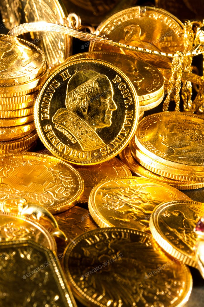 Moneda de Juan Pablo II con Joyas y monedas de oro