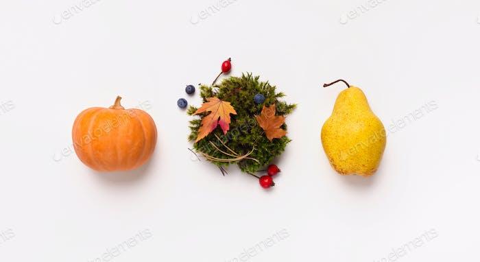 Drei Herbstfrüchte isoliert auf weißem Hintergrund