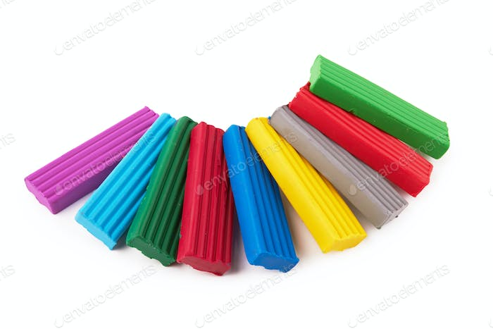 Multi-colored plasticine isolated