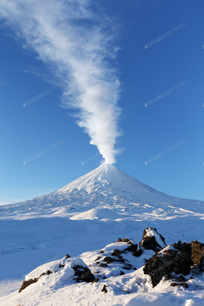 Eruption Klyuchevskoy Volcano - Active Volcano in Kamchatka