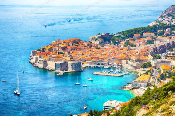 Aerial panoramic view of the old town of Dubrovnik  on a sunny day