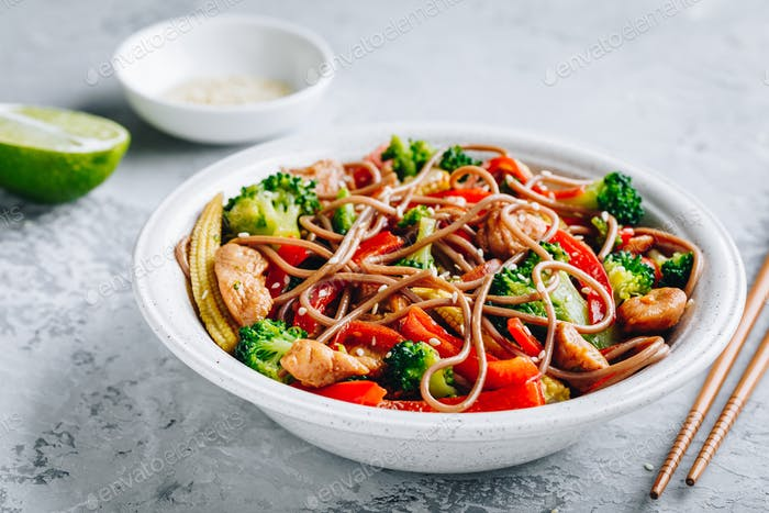 Chicken stir fry noodles bowl.