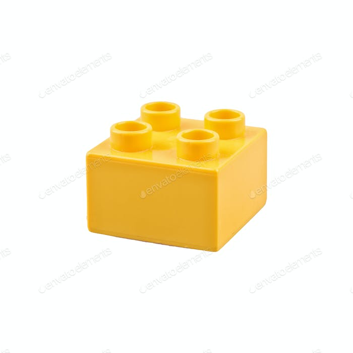 Yellow cube on a white background