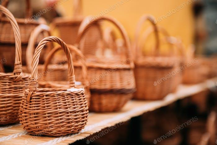 Handcrafts,  Handmade Wicker Baskets  In Local Market