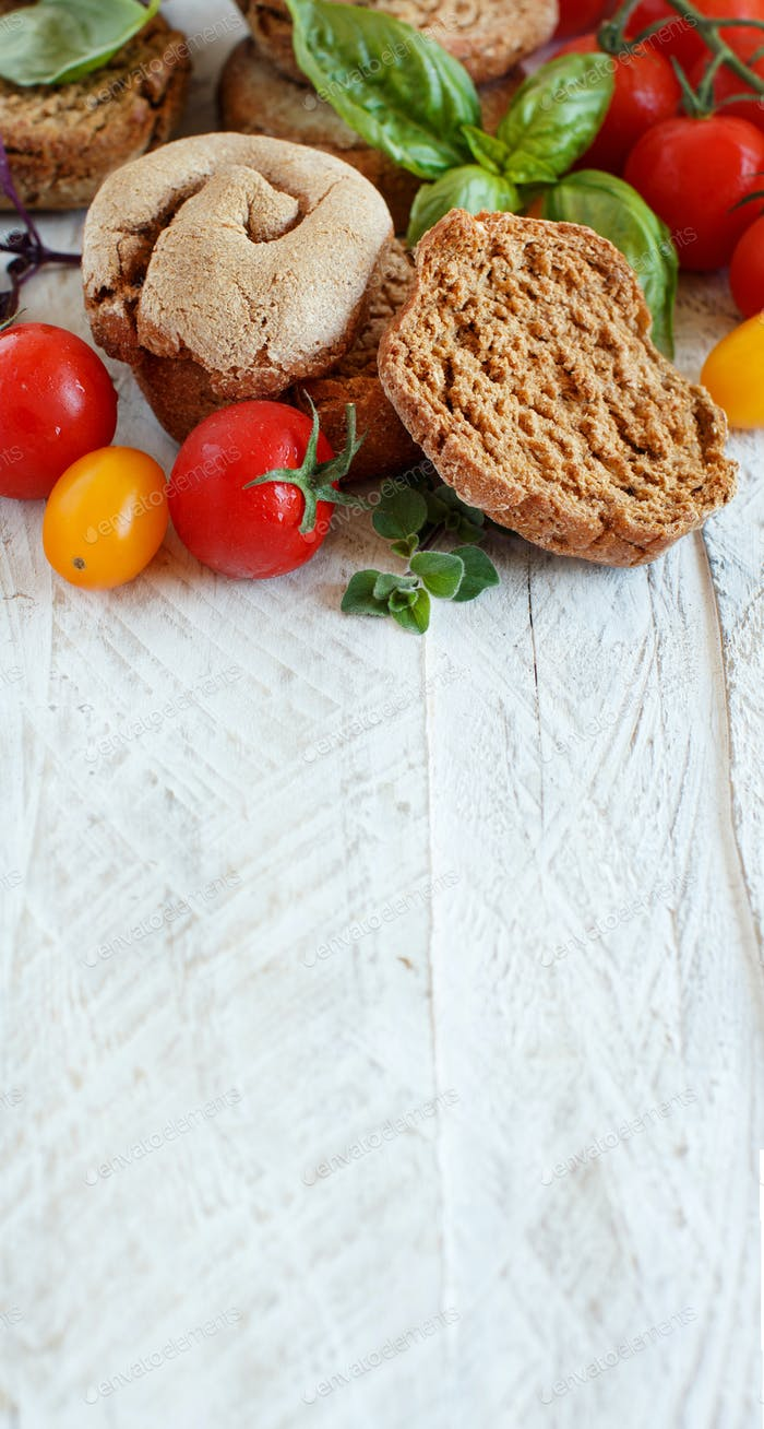 Frisella, typical south italian bread with vegetabes