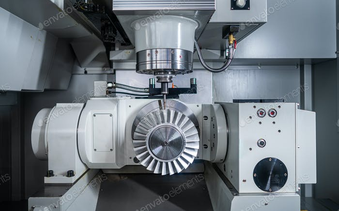 Metalworking CNC lathe milling machine. Cutting metal modern pro