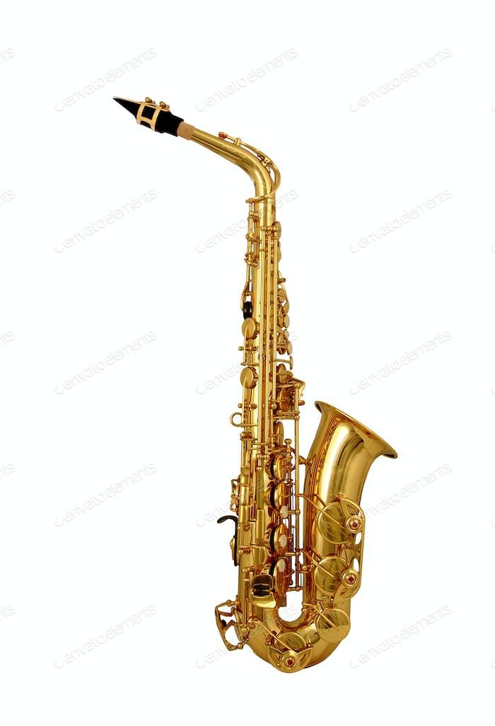 Saxophon isoliert auf weiß