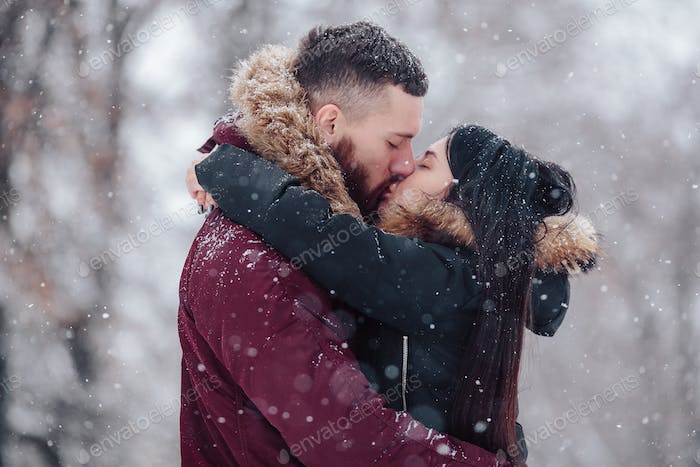 Beautiful young couple kissing
