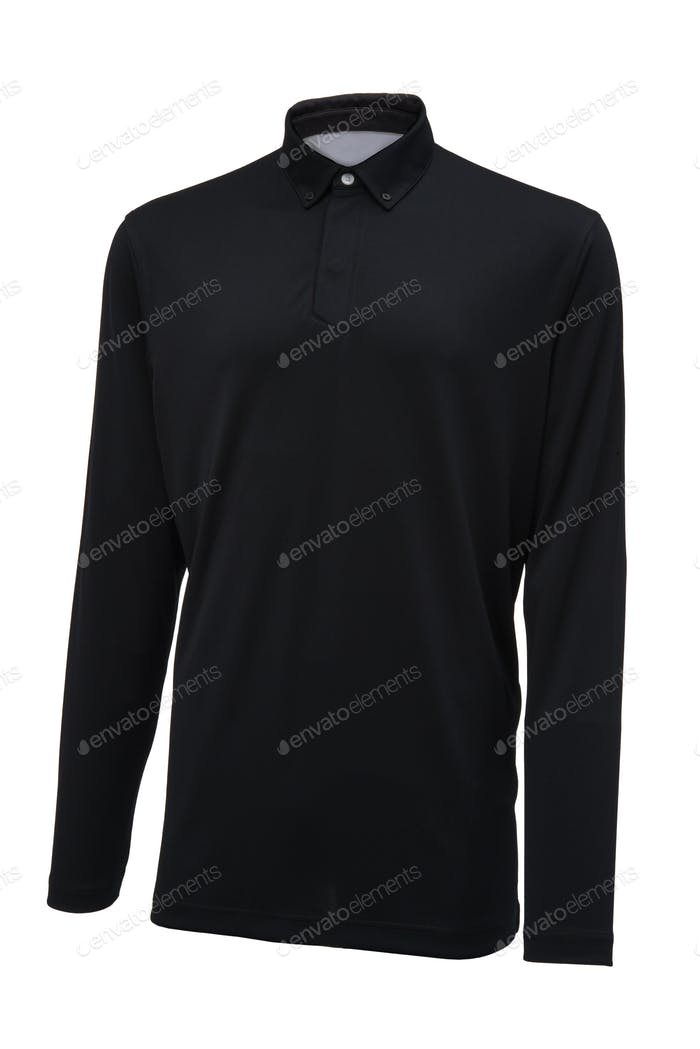 Long sleeve golf black sport shirt
