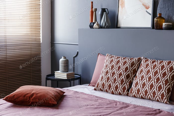 Patterned modern bedroom interior