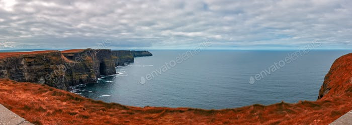 Panoramic view over Cliffs of Moher