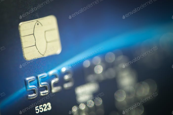 Macro shot credit card.