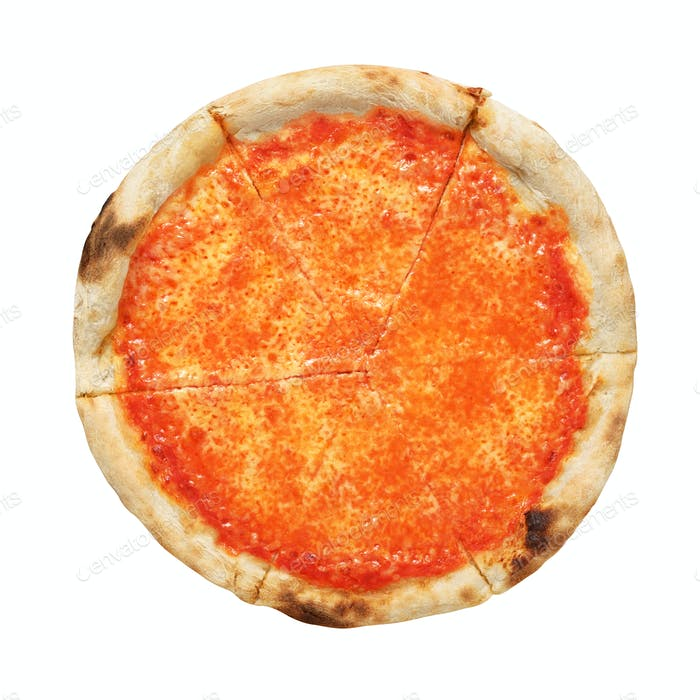 Neapolitan pizza Margherita isolated on white background.