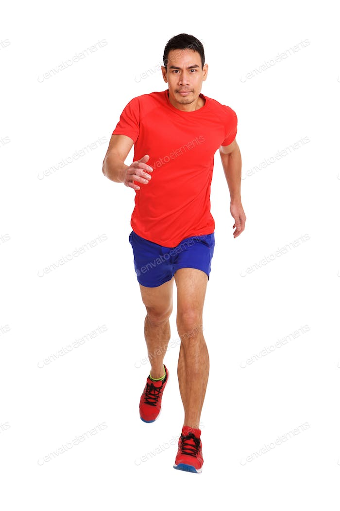 Healthy middle aged asian man running
