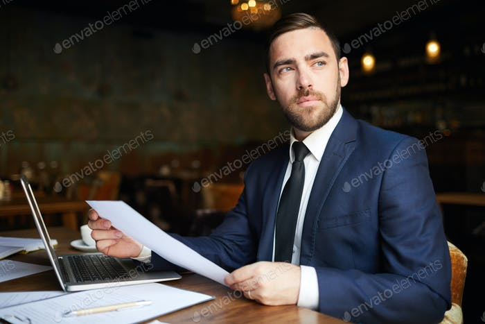 Successful business consultant with papers