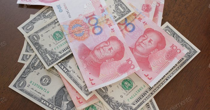 Counting chinese RMB and USD, trade war, concept