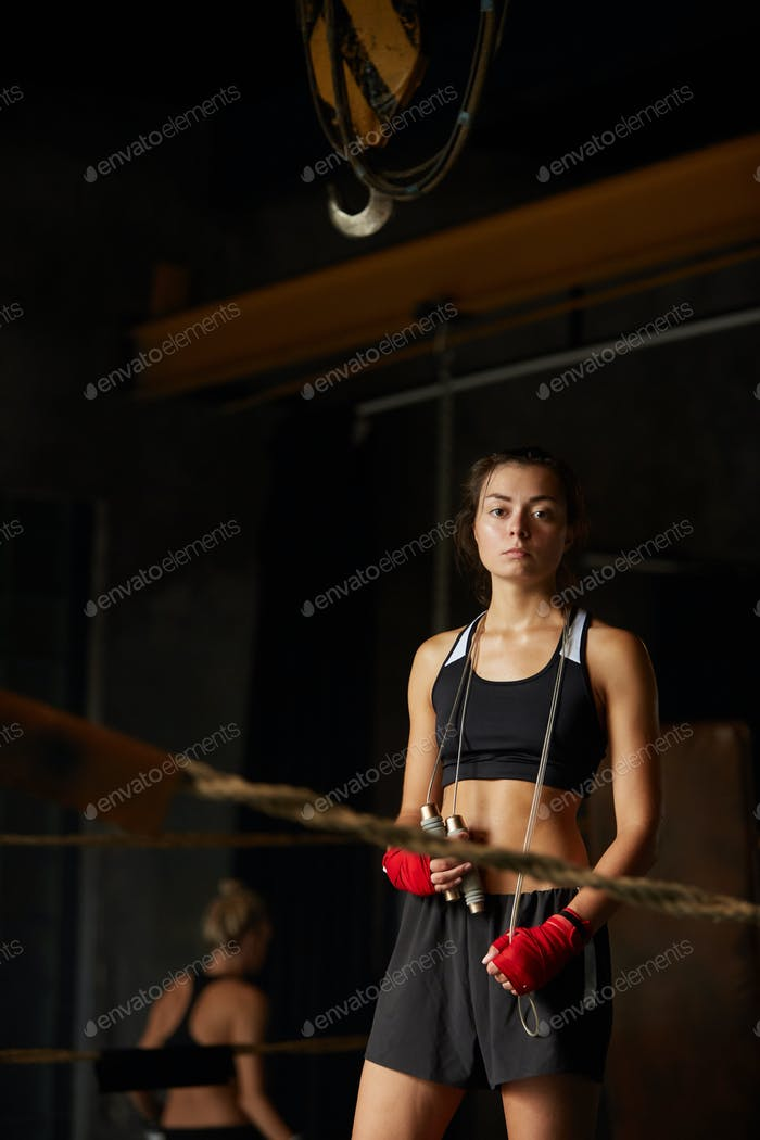 Tough Young Woman in Ring