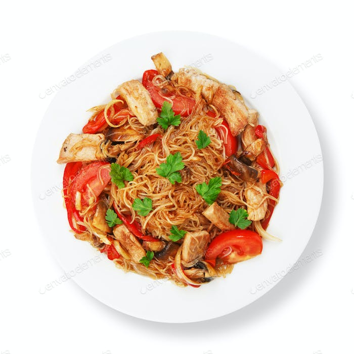 Asian food. Fried Thai Rice noodles