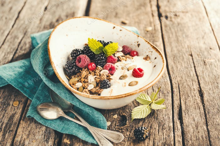 Delicious and healthy Breakfast with homemade granola