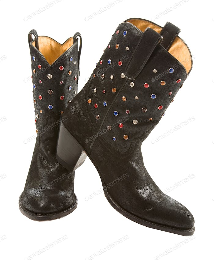 Thumbnail for Black cowgirl boots pair with gems