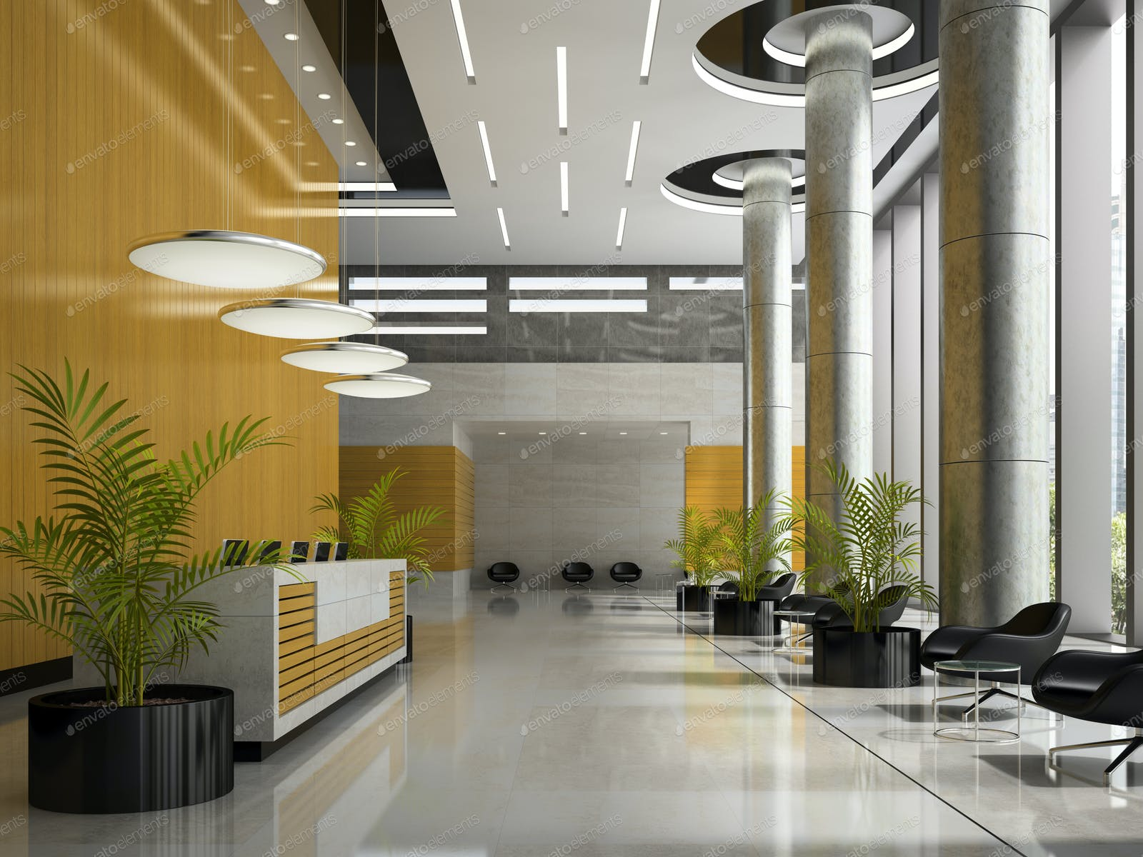 Interior Of A Hotel Reception 3d Illustration Photo By Hemul75 On Envato Elements