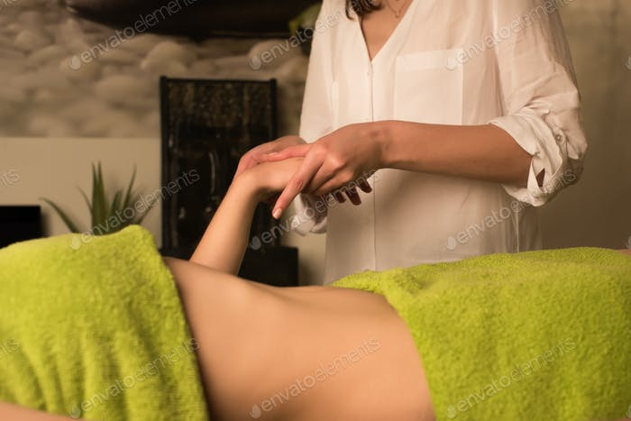 Woman having waist massage