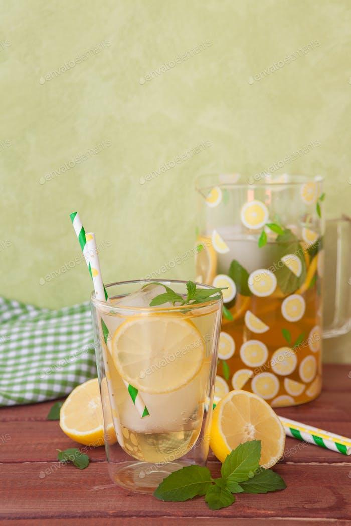 Homemade iced tea with lemon