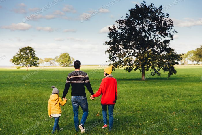Friendly family members have walk together on green meadow, keep hands, have pleasant conversation