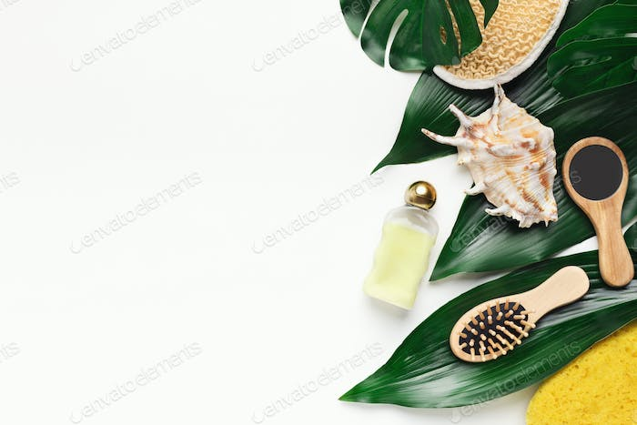 Spa skincare products on big green leaves