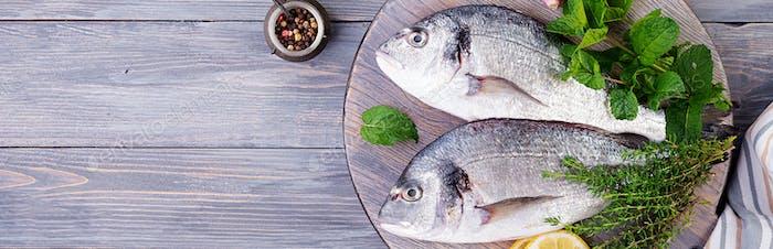 Roher Dorado-Fisch mit grünen Kräutern Kochen auf Schneidebrett. Top v