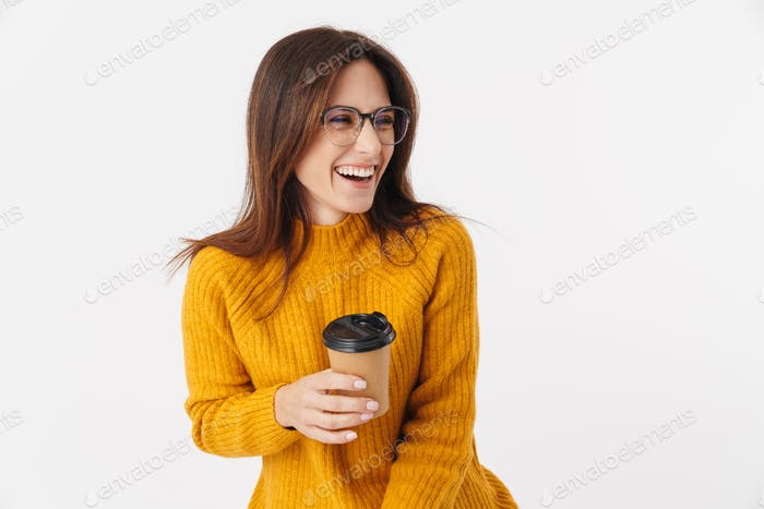 Image of beautiful brunette adult woman laughing and holding coffee cup