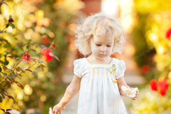 Beautiful child in garden