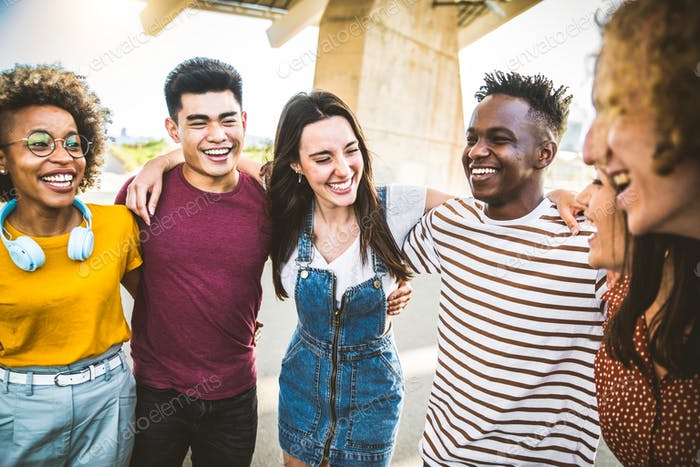 Young happy people laughing together