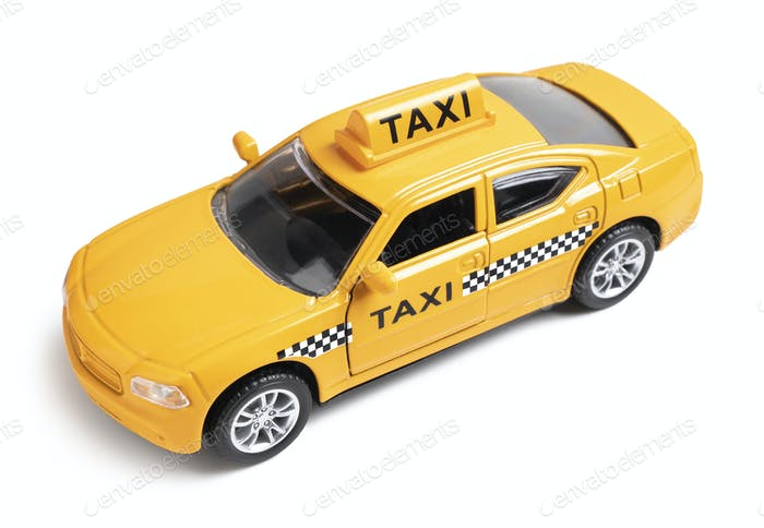 Yellow toy taxi car