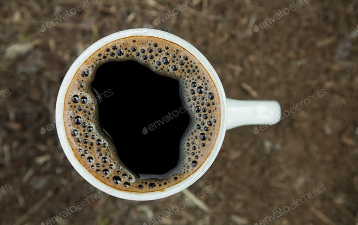 Close-up cup of fresh coffee