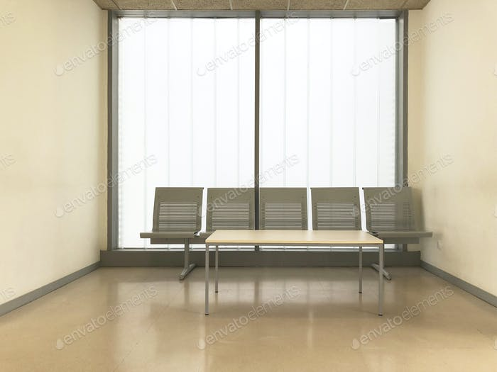 Hospital clinic waiting room. Empty hall. Indoor furniture. Horizontal
