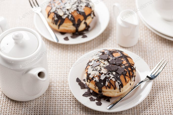 Donuts with caramel and chocolate