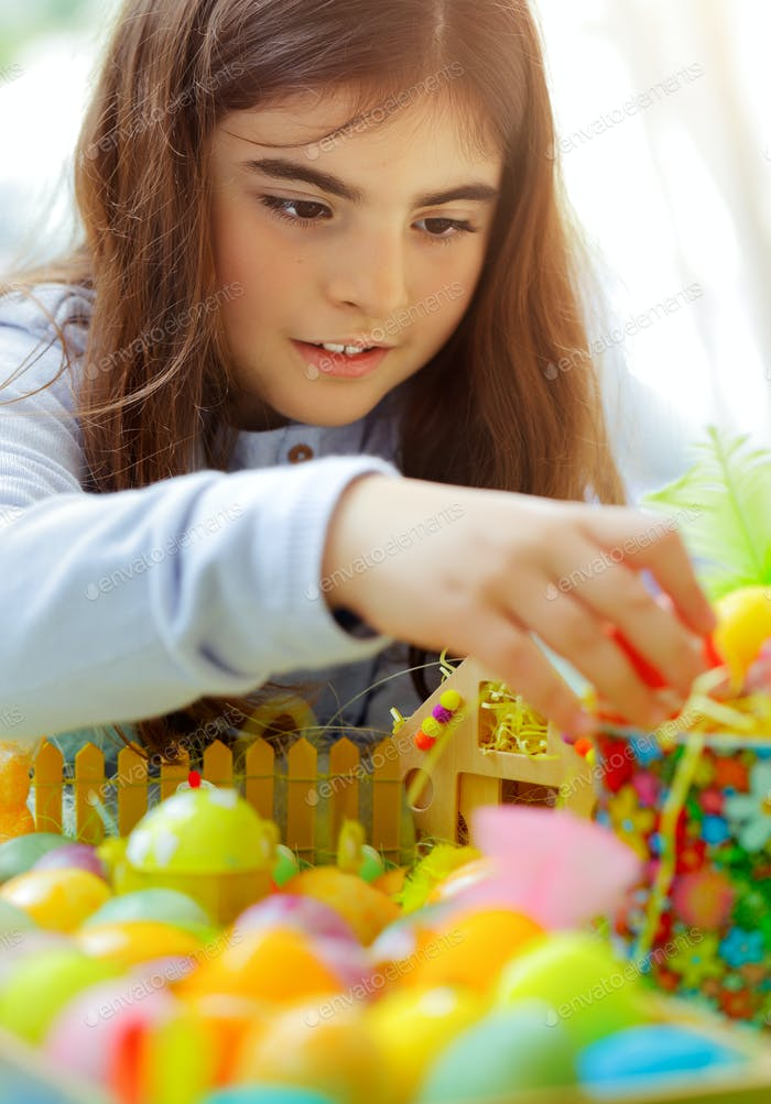 Little girl enjoying Easter holiday
