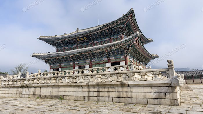 Exterior view of a Buddhist temple, Seoul, South Korea.