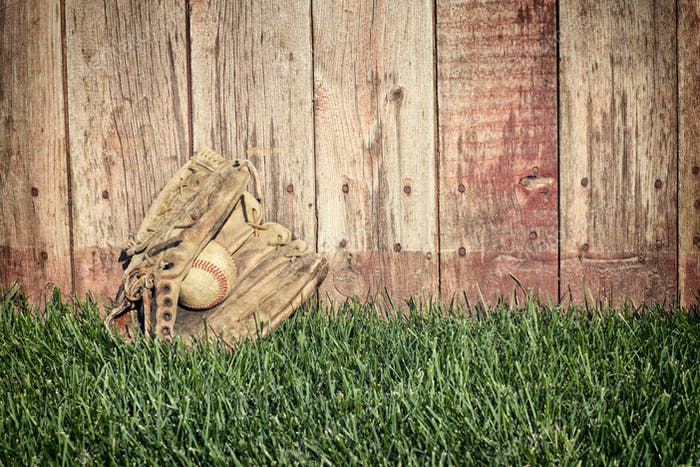 Old Baseball Mitt and Ball by Wood Fence