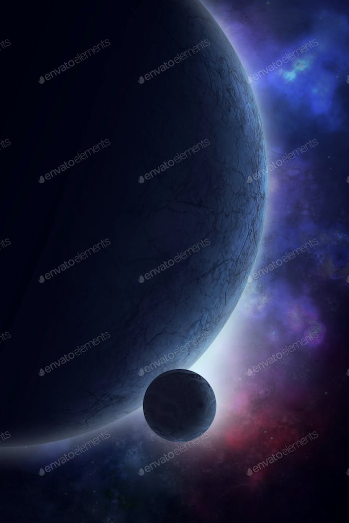 Space background illustration with planet and mood