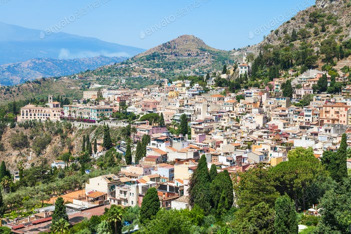 skyline of Taormina city in summer day