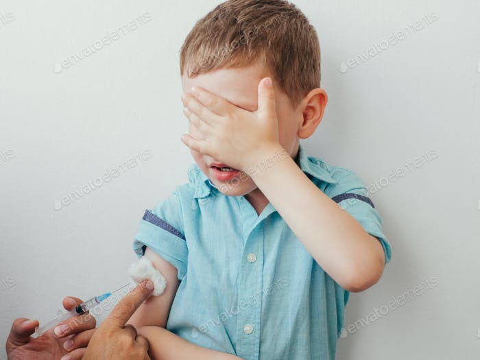 Little boy is afraid to vaccinate