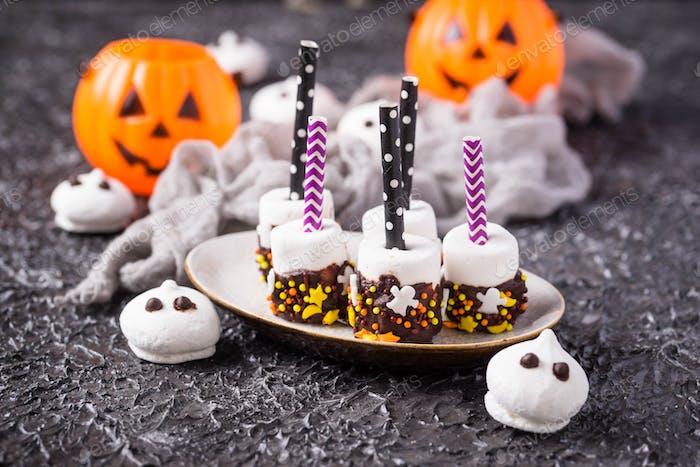 Halloween treat marshmallow in chocolate