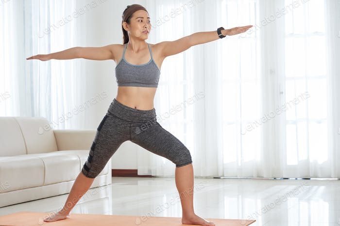 Athletic Woman Doing Asana