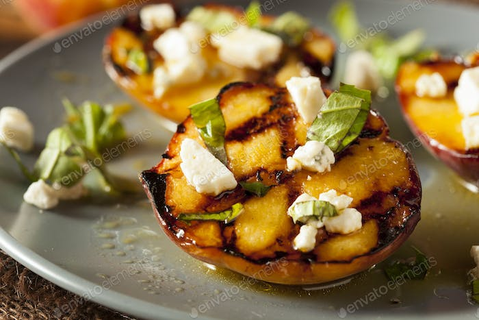 Gourmet Roasted Peaches with cheese and basil