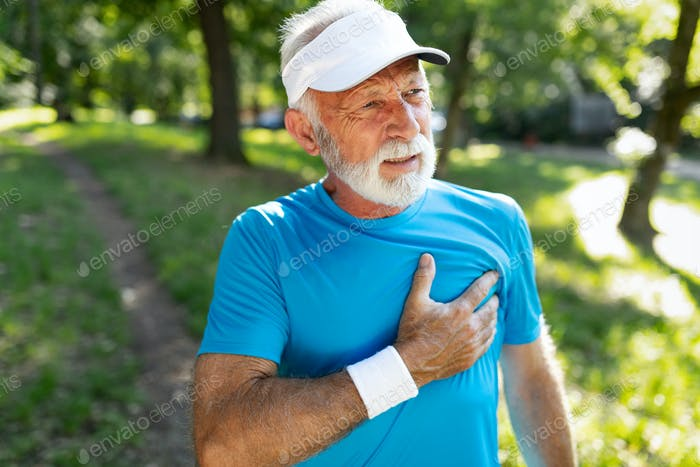 Older man heart attack after running workout outdoor