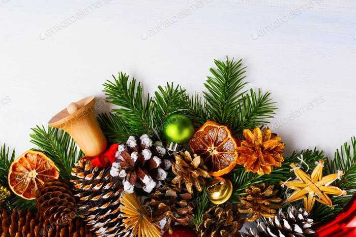Christmas background with wooden and golden jingle bells, copy s