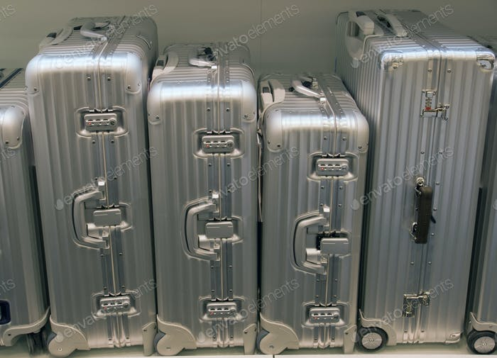 Silver suitcases
